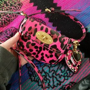 Mulberry for target pink leopard wristlet purse